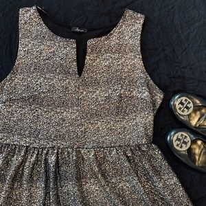 Metallic sparkly black + gold mini dress - 2X